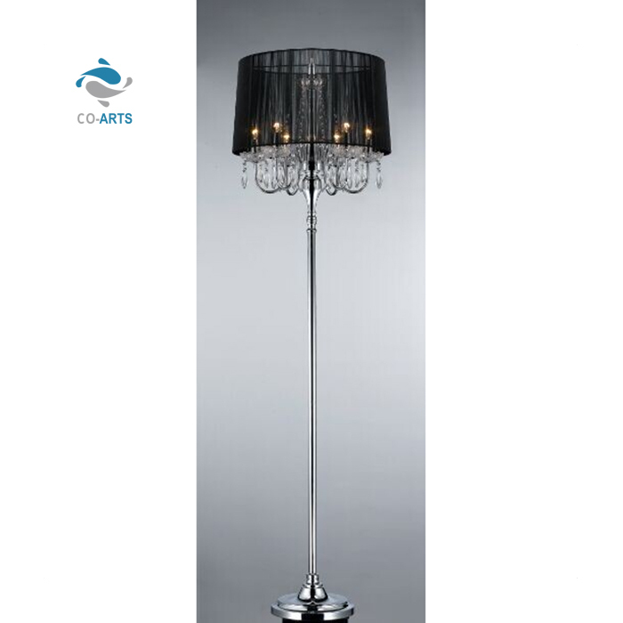 Hot selling home decoration luxury crystal tall floor bedside table lamp