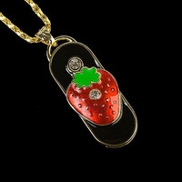Wholesale 2015 new product usb flash drive 1gb strawberry design jewelry usb stick necklaces usb