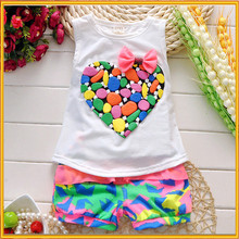 Kids Clothing Sets Cartoon Beautiful Girls Pattern With Bow & Colorful of love Children's Short-sleeved Suit ZZJ-CO-138