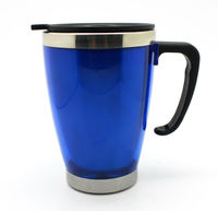 450ml stainless steel & plastic travel mugs with handle