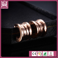 exotic style rose gold plated spiral earrings