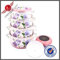 2014 Hot Sale Full Flower White Enamel Pot Enamel Cookware Carbon Steel Enamel Pots
