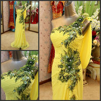 Miraculous Sexy Luxurious One-Shoulder Lace Up FLoor Lenghth Bead Crystal Diamond Yellow Real Sample Evening Dresses 2013 XJ-009