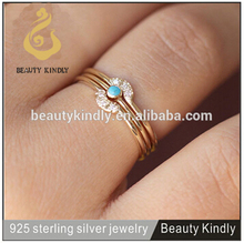 New arrival turquoise ring 925 silver plated gold ring dual ring for women