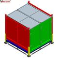 de servicio pesado de acero plataforma de contenedores de metal con tapa