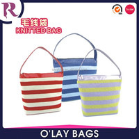 Yiwu wholesale beautifull knitted cosmetic hand bag