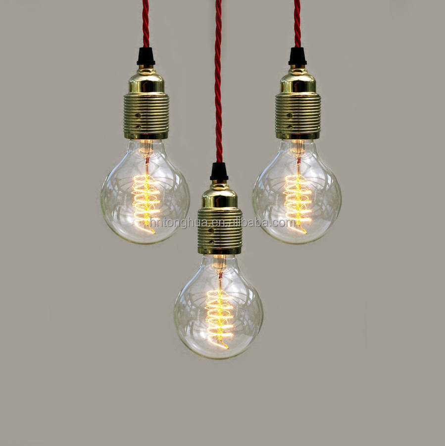 Earth Grounded Wire Ceramic Three Pin Lamp Sockets For Diy Cord Wiring A Original Contemporary Spiral Globe Pendant 4