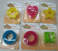 colorful nesting plastic cookie cutter set, cake mould, flower, heart, star,round, square