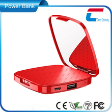 many colors choosable 3000mah polymer make-up portable mobile mirror power bank charger