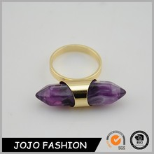 Statement jewelry ring 2015 fashion amethyst gold ring for cute girls