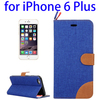 2015 New Arrival Denim Texture PU Leather Flip Case for iPhone 6 Plus Made in China