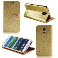 Golden Bling Diamond Flip Wallet PU Leather Case Cover For Samsung Galaxy S5 I9600