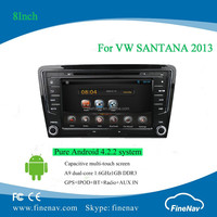 "8"" pure Android4.2 dual core Car DVD for Volkswagen SANTANA 2013-2015 with Capacitive screen Gps,3G,Wifi,Bt,Radio,AUX in,Ipod"