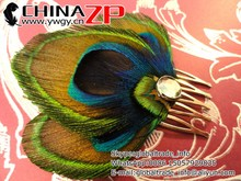 Trade Assurance plume Fascinator ZP factory wholesale AMELIA in Blue Peacock Feather Hair Comb
