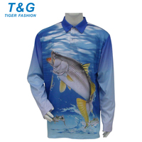 Custom made wholesale uv fish print fishing shirts