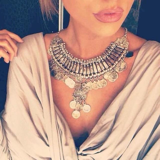 vintage boho necklace tassel exaggerated long Silver Coin necklace women fashion necklaces & pendants for women
