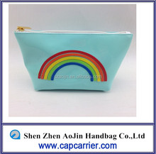 gift pvc zipper color blocking cosmetic bag rainbow icon handbags for girls