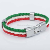 High quality stainless steel red green white leather italy flag bracelet
