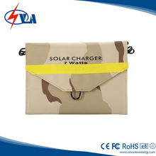 7W folding panel portable mobile solar charger for mobile phone