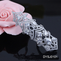 Exquisite Micro Pave 925 Silver Jewelry, Beautiful Hollow Full Finger Armor Ring, Fashion Ring Finger Ring Photos