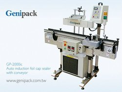 Auto induction foil cap sealer with conveyor