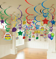 Manufacturer party supply birthday party paper decorations PVC hanging swirl