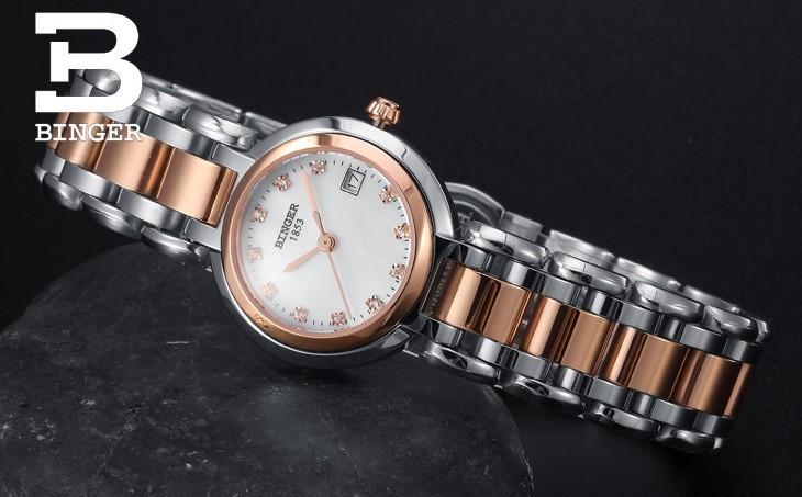 Новые Моды Марка Женщины Розовое Золото Стали Часы Lady Повседневная Нержавеющей Бингер Кварц Наручные Часы 50 М Водонепроницаемый Спортивные Часы