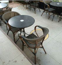 metal frame bamboo looks chair and table