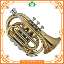TR104 High Grade Gold Lacquer Bb key Pocket Trumpet