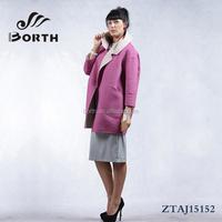 BORTH(R) Fashion Womens WOOL Cashmere Winter Coat purple and beige