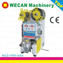 Hot seals fully automatic plastic cup sealer