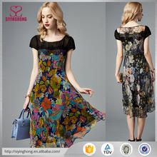 Dongguan Clothing Wholesale Women Print Butterfly Short Sleeve Dress
