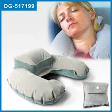 Lovely Design portable inflatable u shaped pillow with pocket