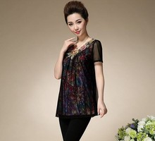 Upscale middle-aged loose big yards short sleeve T-shirt middle-aged women's casual wholesale blouse