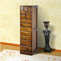 simple rural multi functional wooden closet cabinet with 14 drawers 430x320x1215mm