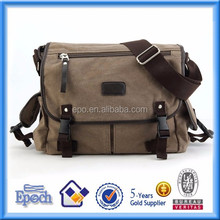 Men's vintage school shoulder washed canvas messenger bag