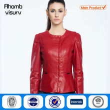 OEM service fashion lady pu leather jacket