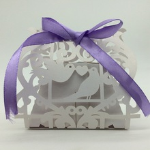 2015Most popular White Love Birds Laser Cut Wedding Paper Candy Box with Ribbons chocolate favour box baby shower birthday