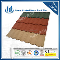 Popular shingle type colorful stone coate metal roof tile