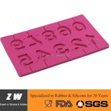 ZW FDA LFGB numbers lollipop silicone mold, lollipop kit