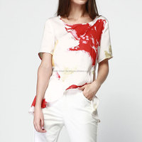 2015 Fashion white printed lovely girl plain crop tops wholesale