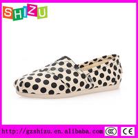 dot print women flat espadrilles casual jute sole canvas shoes