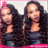 Female Star10-26 inch natural 1b 130% density brazilian loose wave hair styles lace front wig
