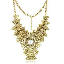 2014 las mujeres europeo estilo americano de moda las largas cadenas de oro collares declaración hueco señoras 7089 gargantilla