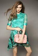 En el verano de 015 las nuevas mujeres de impresión de ropa vestido de gasa de seda con mangas cortas