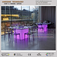 luminous square banquet wedding table / hottest dining set Glass Dining Table
