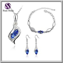 Wholesale fashion silver jewelry set necklace bracelet earring jewelry sets