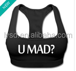 custom made sports bra yoga wholesale U MAD? SPORTS BRA