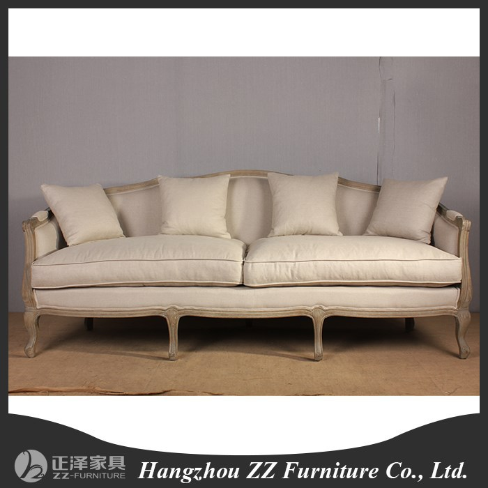 Antique Style 3 Seat Fabric Wood Frame Sofa Chair View