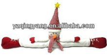 New arrival christmas day gifts stuffed plush snowman door draft stopper toy with red santa hat